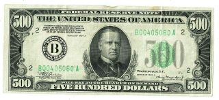 $500 1934 A Series Five Hundred Dollar Bill York,  York B Paper Currency