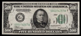 Fr.  2202g 1934 - A $500 Five Hundred Dollar Bill Federal Reserve Note