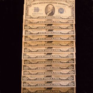 $270 Face $10 Silver Certificates Series 1934 A C & D