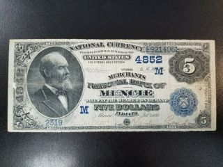 1882 $5 Db - Merchants National Bank Of Muncie,  Indiana Nationa - Ch 4852