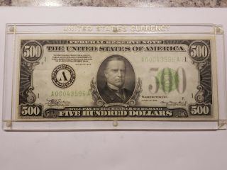 1934 - A $500 Five Hundred Dollar Bill Federal Reserve Note Boston