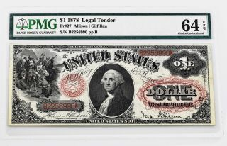 $1.  00 Series 1878 Fr 27 Pmg Certified Choice Uncirculated 64 Epq