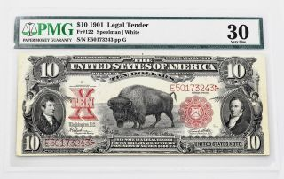 $10.  00 Series 1901 Bison Fr 122 Pmg Certified Very Fine 30