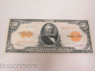 Us $50 Fifty Dollar Bill Gold Certificate Series 1922 Seal Large Note Grant