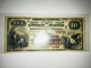 1895 $10 Brown Back The First National Bank Of Nanticoke,  Pa Tough Brown Back