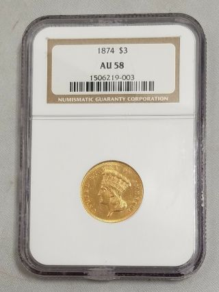 1874 $3 Three Dollar Gold Princess Head Indian Coin Au 58 Ngc 1506219 - 003