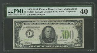 Fr2201 - I $500 1934 Frn Minneapolis Pmg 40 Choice Xf Lgs 42 Known Wlm8280
