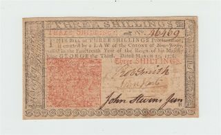 1776 Colonial Currency Jersey 3s Note / Three Shillings Bill / Usa Us