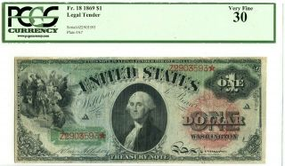 Fr 18 $1 1869 Legal Tender Pcgs 30 Very Fine Rainbow Note