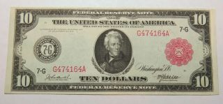 1914 Ten Dollar Red Seal Federal Reserve Note Serial G474164a Chicago