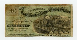 1862 10c J.  C.  Washburn - Davenport,  Iowa Merchant Scrip Civil War Era