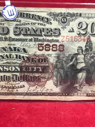 NATIONAL CURRENCY $20 SERIES 1882 THE UNAKA NATIONAL BANK OF JOHNSON CITY (TN) 4