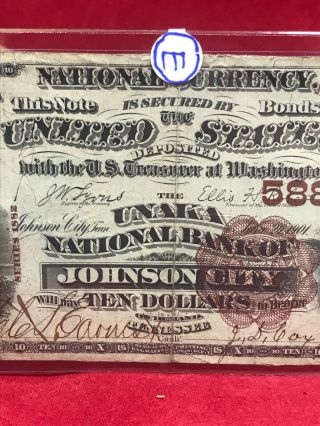 NATIONAL CURRENCY $10 UNAKA NATIONAL BANK OF JOHNSON CITY (TN) 3