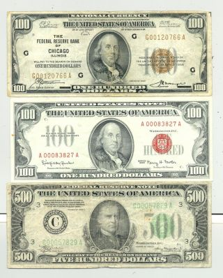 $700 Fv In $100 1966 Usn And 1929 Frbn And A Looking 1934 $500 Bill