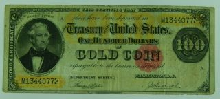 1882 $100 Gold Certificate Hundred Dollars In Gold Coin Currency Large Note Us