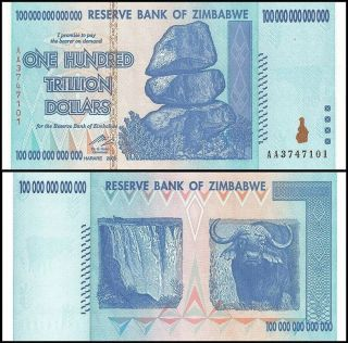 100 Trillion Zimbabwe Currency 2008 Aa Will Send In Plastic Note Protector
