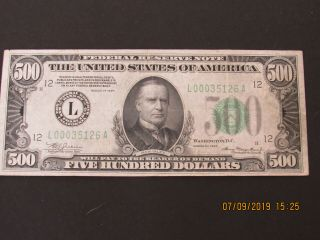 1934 500 Dollar Bill L00035126a 70 Bright Lime Green