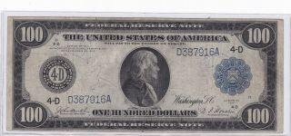 Series 1914 One Hundred Dollars Federal Reserve Note $100 Large Size Note