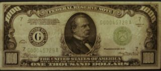 1000 One Thousand Dollar Bill Old Currency Note Chicago Illinois Cerculated