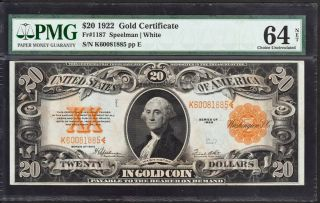 Tr 1922 Pmg Choice Unc 64 $20 Large Size Gold Seal Gold Cert Starts At 1c