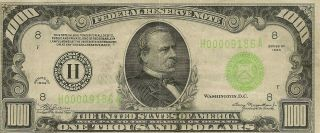 1934 St.  Louis (h) Federal Reserve Note $1000 Thousand Dollar Bill,  Ungraded