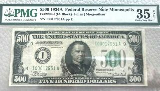 1934a $500 Federal Reserve Note Fr 2202 G Minnapolis Pmg Choice Epq Pq High End