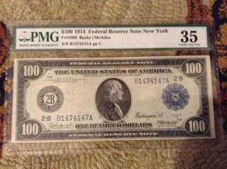1914 $100 Federal Reserve Note Pmg 35