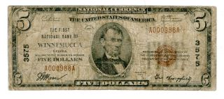 Winnemucca,  Nv.  1929,  $5 Ty.  1,  The First Nb Of Winnemucca,  Ch 3575,  Fr 1800 - 1.