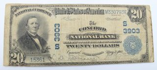 1902 U.  S.  $20 Concord National Bank 3903 Large National Currency Note Nr 6166