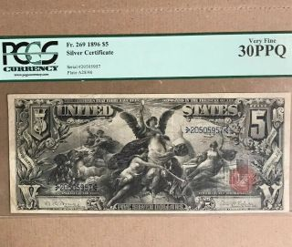 Fr 269 $5 1896 Educational Silver Certificate Us Currency Vf 30ppq