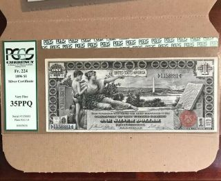 """Fr.  224 $1 1896 Silver Certificate """" Educational """" Pcgs Very Fine 35ppq"""