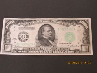 1934 1000 Chicago Federal Reserve Note G00200788a Lime Green
