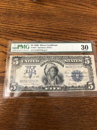 1899 5 Silver Certificate Indian Chief