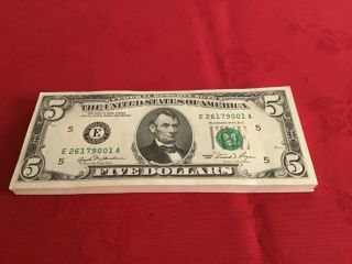 $5 Bills.  100 Consecuive S,  Crisp,  Uncirculated
