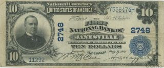 1902 United States $10 National Bank Of Janesville Wisconsin Note Charter 2748
