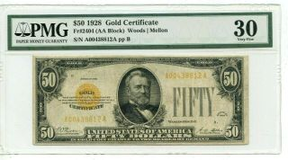 1928 $50 Gold Certificate Note (pmg Vf 30) Very Scarce Note Fr 2404