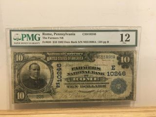 The Farmers National Bank Of Rome Pennsylvania Date Back Charter 10246 Pa