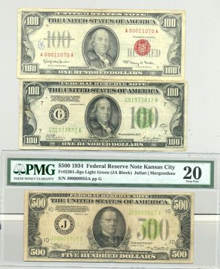 $700 Fv In $100 1966 Usn And 1928 Frn And A Comment Very Fine 20 $500 Bill