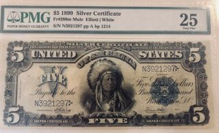 "Fr.  281 $5 1899 Silver Certificate "" Indian Chief "" Pmg Very Fine 25"