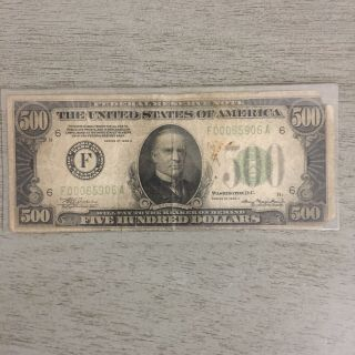 1934 $500.  00 Federal Reserve Note