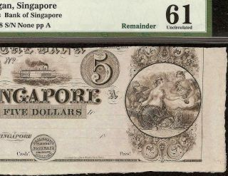 Unc 1830s $5 Dollar Singapore Michigan Bank Note Currency Paper Money Pmg 61