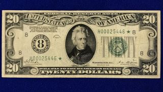 1928 Twenty Dollar Note Currency Star Note No.  8 St.  Louis Reserve Circ.  Rare