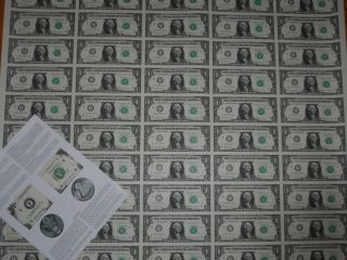 Rare Uncut Us Currency Sheet 50 X $1 Bill Dollar Federal Reserve Notes Awesome
