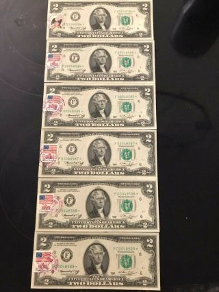 2 Dollar Bills With Low Serial Number,  Star Bills,  6 Total.