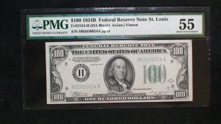 1934 B 100 Dollar Pmg Au55 Federal Reserve Note St.  Louis $100 Bill Buy It Now