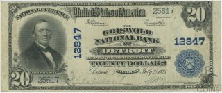 1902 United States $20 Griswold National Bank Of Detroit National Ban Ch 12847