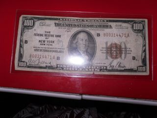 1929 $100.  00 U.  S.  National Currency (minor Writing On Bill) York