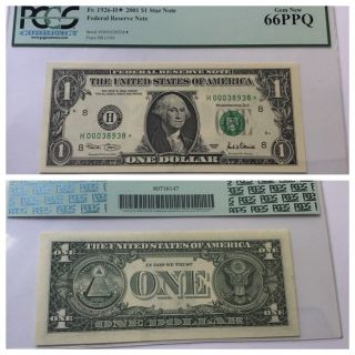 Vintage Pcgs 66 Ppq $1 2001 St.  Louis Star Federal Reserve Note One Dollar Bill