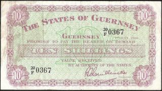 The States Of Guernsey 10 Shillings 1966 P:42c F,