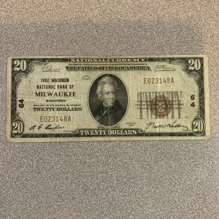 Us National Currency $20 First National Bank Of Milwaukee Wisconsin Series 1929